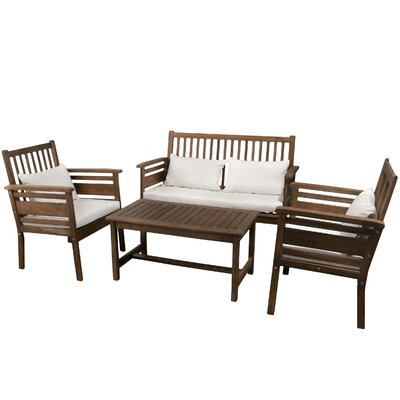 Home Loft Concept Carolina 4 Piece Outdoor Wood Lounge Seating Group with Cushions