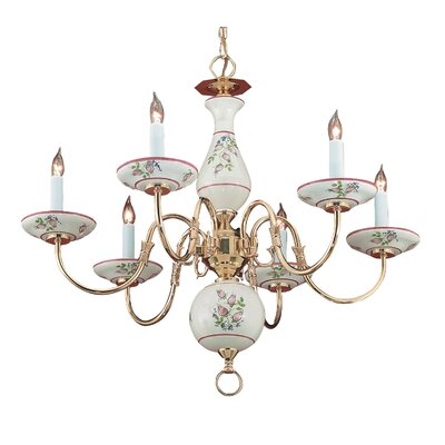 Classic Ceramic Six Light Chandelier in Polished Brass