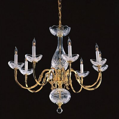 Crystorama Historical Brass  Candle Chandelier in Polished Brass