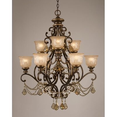 Norwalk 9 Light Golden Teak Crystal Chandelier