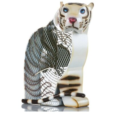 White Tiger Figurine Table Top Fan
