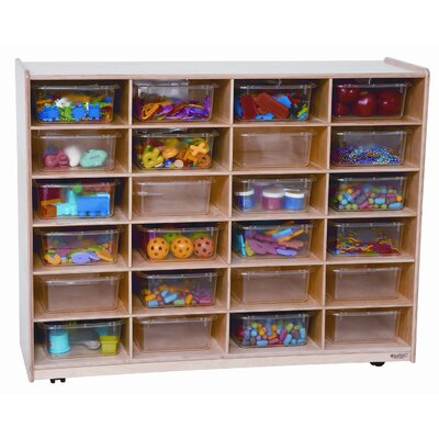 Wood Designs Twenty Four Large Tray Storage Unit with Clear Trays