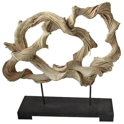 White x White Rattan Free Form Statue on Wood Base