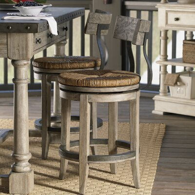 Lexington Twilight Bay Dalton Counter Stool in Distressed Textured Soft Taupe Gray