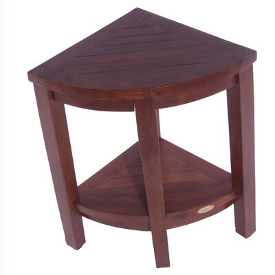 Decoteak Lift Aide Extended Teak Corner Spa Shower Bench