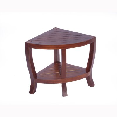 LiftAide Contemporary Teak Corner Shower Stool