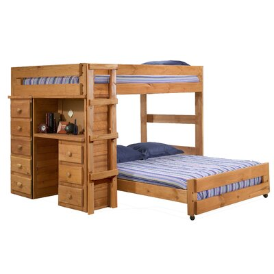 Chelsea Home Full Over Full L-Shaped Bunk Bed with Desk ...