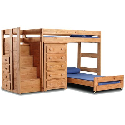 Chelsea Home Twin Over Twin L-Shaped Bunk Bed with 5 Drawer Chest and ...