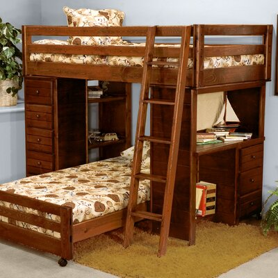 Twin Over Twin L Shaped Bunk Bed With Desk And Chest End