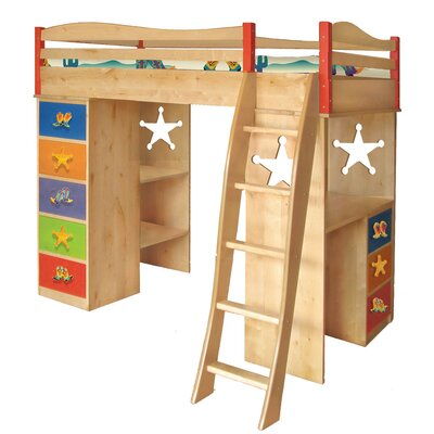 Room Magic Cowboy Twin Loft Bed with Desk and Storage