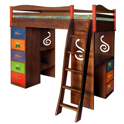 Little Lizards Twin Loft Bed with Desk and Storage