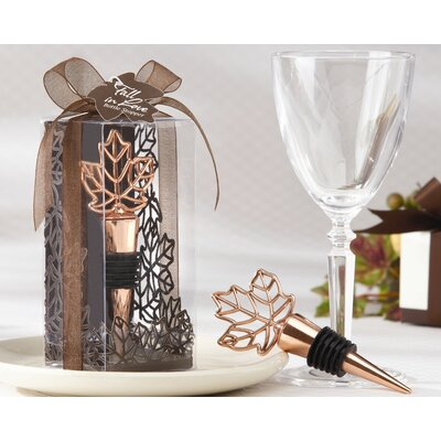 Kate Aspen ''Lustrous Leaf'' Bottle Stopper in Laser-Cut Leaf Gift Box