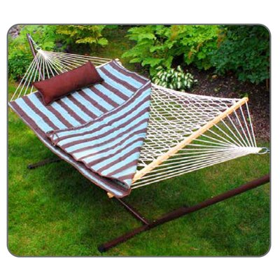 Twotree Hammocks Cotton Rope Hammock with Stand, Quilted Pad and Pillow