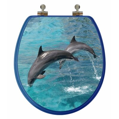 Topseat 3D Ocean Series Two Dolphins Jumping Round Toilet Seat