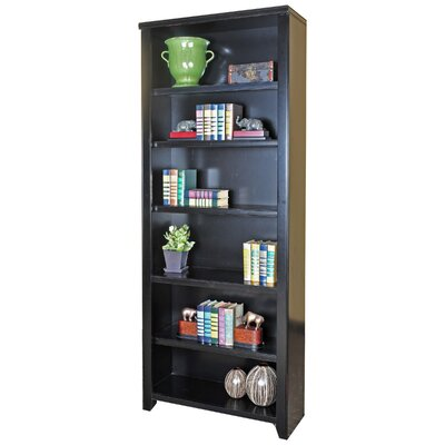 "kathy ireland Home by Martin Furniture Tribeca Loft Black Office Collection 84"" Bookcase in Distressed Painted Black"
