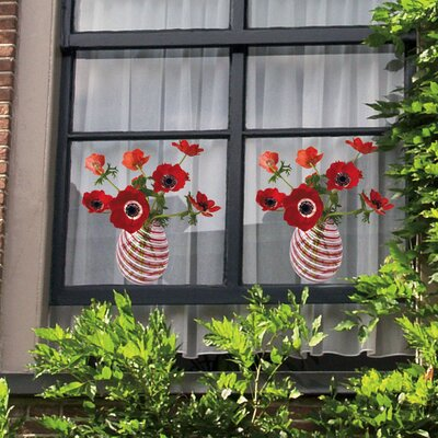 Oots Flat Flowers Window Stickers Originals in Anemone Red