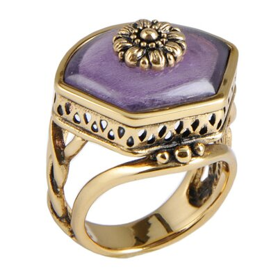 Bliss Metal Amethyst Flower Center Ring
