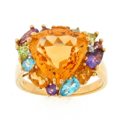 Meredith Leigh Designs Sterling Silver Multi Semi-precious Gemstones and Diamonds Ring