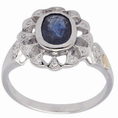 18K and Silver Oval Cut Sapphire and Cubic Zirconia Ring