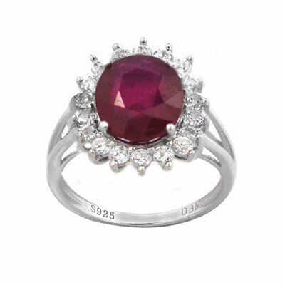 Sterling Silver Oval Genuine Ruby and Cubic Zirconia Ring