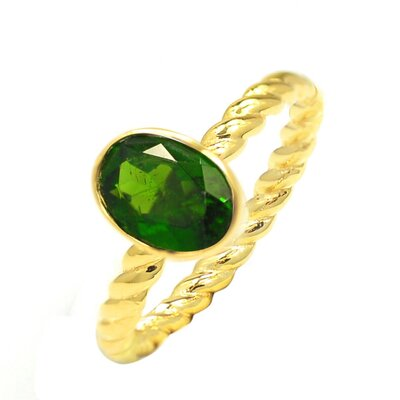 Gold Over Sterling Silver Oval Cut Genuine Chrome Diopside Ring