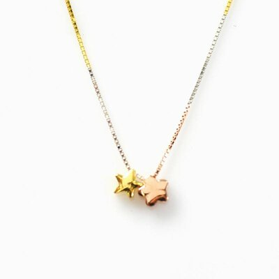 Three-Tone Sterling Silver Star Necklace