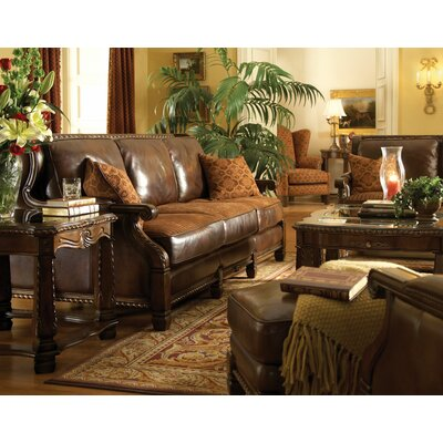 Michael Amini Windsor Court Wood Trim Leather Loveseat