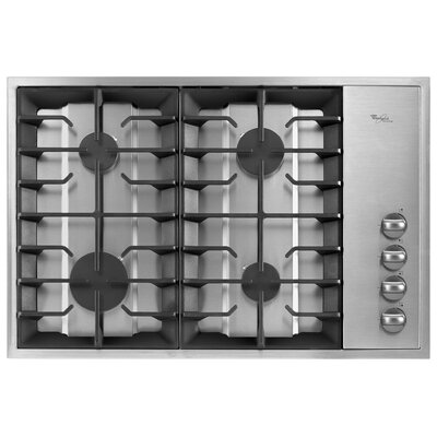 "Whirlpool 30"" Recessed Grate Design Gas Cooktop"