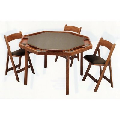 "Kestell Furniture 52"" Oak Contemporary Folding Poker Table"