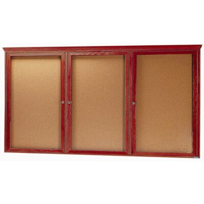 AARCO Enclosed Bulletin Board with Oak Frame and Crown Molding
