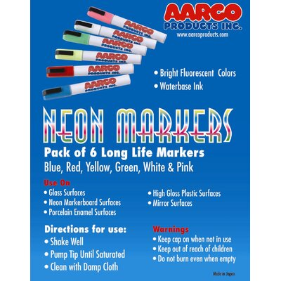 AARCO Neon Dry Erase Makers (Set of 6)