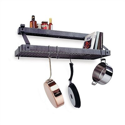 Premier Deep Bookshelf Wall Mounted Pot Rack with Shelf