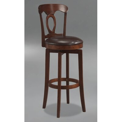 Hillsdale Furniture Corsica Swivel Bar Height Barstool with Vinyl Seat in Brown