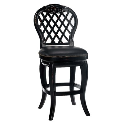 "Hillsdale Furniture Braxton 30"" Black Leather Swivel Bar Stool"