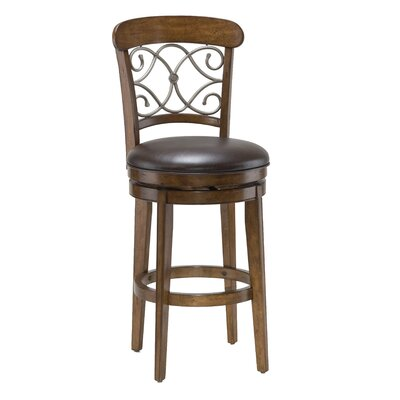Hillsdale Furniture Bergamo Swivel Bar Stool in Brown Cherry