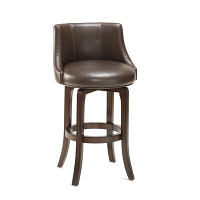 Napa Valley Swivel Bar Stool in Brown Leather and Cherry