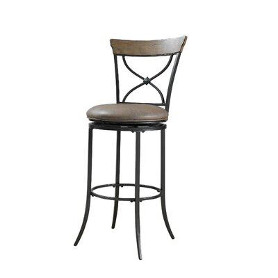 Charleston X-Back Swivel Counter Stool in Distressed Desert Tan
