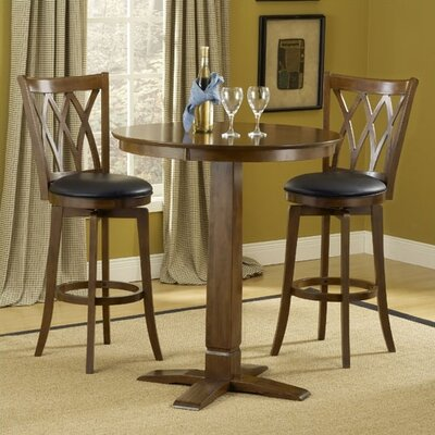 Hillsdale Furniture Dynamic Designs Gathering Table with Cherry Finish with Mansfield Swivel Bar Stools