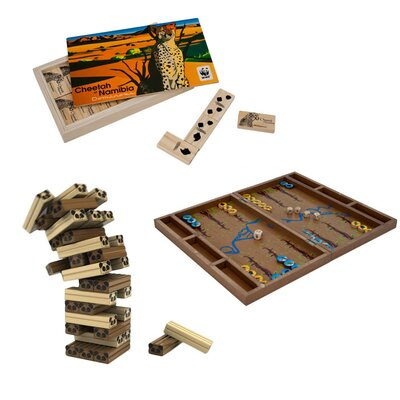Wild Animal Wood Tumbling Tower, Backgammon and Dominoes Board Game