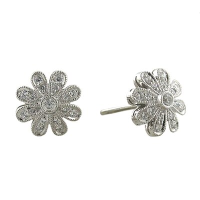 Sterling Silver Flower Diamond Stud Earrings