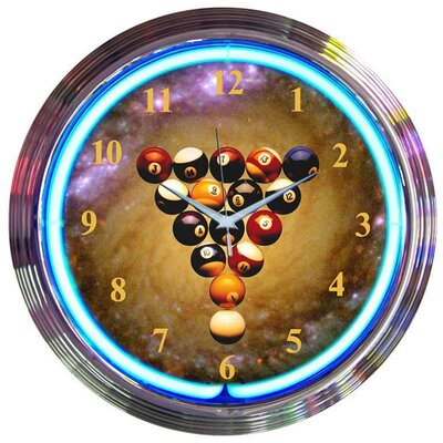 Neonetics Billiards Space Balls Neon Clock