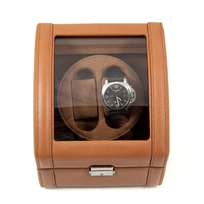 Bey-Berk Two Watch Winder in Tan Leather