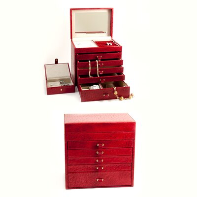 Bey-Berk Jewelry Chest in Red Leather