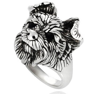 Sterling Silver Dog Face Ring