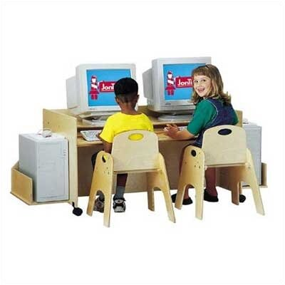Jonti-Craft ThriftyKYDZ Double Computer Desk with Locking Casters