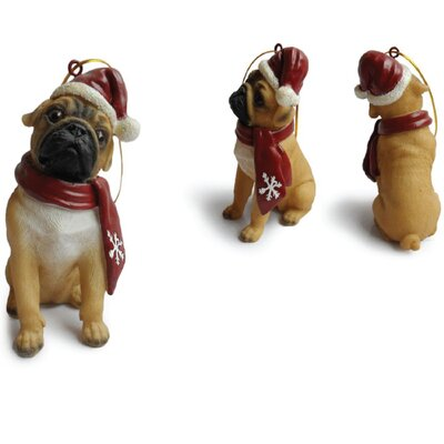 Little Gifts Pug Snowflake Scarf Resin Ornament