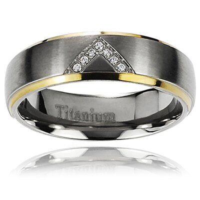 Men's Titanium Two-Toned Round Cut Cubic Zirconia Band Ring