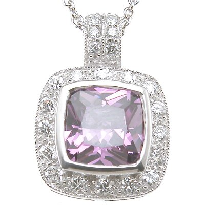 Plutus Partners .925 Sterling Silver Princess Cut Amethyst Fashion Pendant