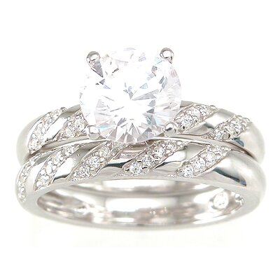 .925 Sterling Silver Brilliant Cut Cubic Zirconia Wedding Ring Set