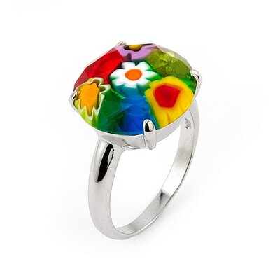 Millefiori Sterling Silver Faceted Round Glass Ring